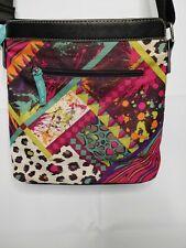 Lily Bloom Multicolor Floral Black Crossbody Purse Handbag Tropical Animal Frank