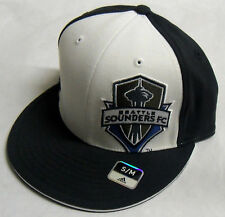 MLS Seattle Sounders FC Adidas Flat Visor Flex Cap Hat S/M NEW!