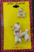Betsey Johnson Pink Poodle Dog Pin Brooch Set NWT