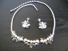 Signed Sherman Two Tier Charcoal Necklace & Earrings