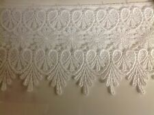 NEW 3 3/4 INCH WHITE MEDALLION LACE FABRIC TRIM