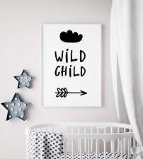 Wild Child Cloud Arrow Black Unisex Kids Play Room Nursery Wall Art Print Poster
