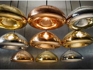 Ikea Loft Copper Brass Bowl Mirror Glass Bar Art  Modern Ceiling Pendant Lamp