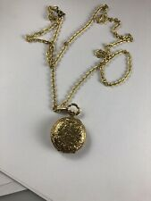 Vintage Swiss Small Gold Tone Pocket Watch Pendant Necklace