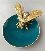 Small Metal Teal Blue Gloss Enamel Trinket Dish Large Brass Fly Insect Unusual