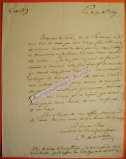 L.A.S 1827 Comte A. de PASTORET au Cte CARRA SAINT CYR Armées du Roi Lettre LAS