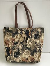 NEW Large Cat Kitten Tapestry Fabric Shoulder Hand Bag Purse