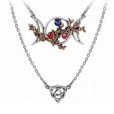 ALCHEMY WICCAN GODDESS OF LOVE NECKLACE Triple Moon Triquetra Ivy with Swarovski