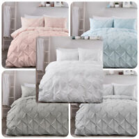 Serene LARA Pleated Duvet Cover Set Bedding - White Pink Grey Silver Duck Egg