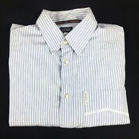 Armani Jeans Mens Long Sleeve Cotton Blue Striped Pearl Snap Shirt Size US M