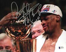 "DENNIS RODMAN Signed ""96 CHAMP 72-10"" 8x10 BULLS NBA Photo BAS Beckett AUTO COA"