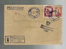 1945 Varsavia Polonia Censurato a Rosso Croce Svizzera