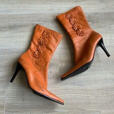 Vintage Diba Alexa Orange Leather Pointy Boots Floral Made in Brazil Sz 8 M Heel