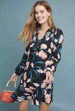 NWT Anthropologie Maeve Black Floral Ragonda Tunic Dress 14
