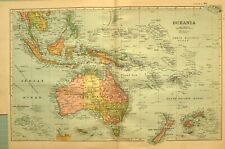 1894 Map Oceania Australia New Zealand Borneo Fiji Islands New Guinea Siam Java