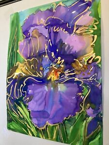 PURPLE IRIS  Original Watercolor Painting