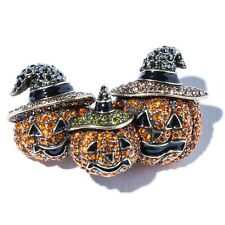Heidi Daus Pin Brooch Three Pumpkin Halloween Harvest Pin