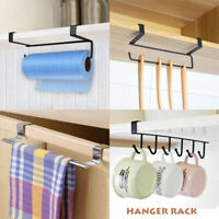 Kitchen Under Cabinet Towel Cup Paper Hanger Rack Organizer Storage Shelf Holder