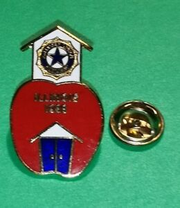 1988 Illinois US American Auxiliary Legion Pin Lapel Red Apple School House