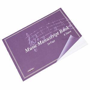 A5 24 Page Music Manuscript Sheet Notebook Blank 6 Stave Notation Paper Pad Book