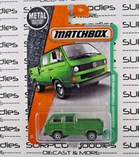 MATCHBOX 1:64 2017 Green VOLKSWAGEN TRANSPORTER CREW CAB Empty Bed *Bad Card*