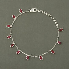 Goregous 925 Sterling silver Ruby Corundum stone bracelet Jewelry for gift