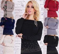Damen-Pullover & -Strickware mit Carmen-Ausschnitt aus Viskose ohne Muster