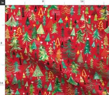 Christmas Red Nature Forest Trees Happy Winter Spoonflower Fabric by the Yard