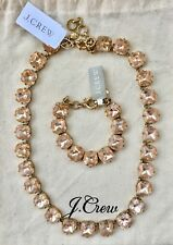 JCrew Faceted Stone Delicate Pink Necklace & Bracelet Jewelry Bags Retail $168