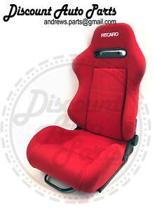 RECARO SRD SR3 Red Racing Seats Reclinable Cloth w/Sliders JDM Type R PAIR