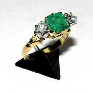 BEAUTIFUL 18ct  YELLOW GOLD EMERALD & 1.00 ct DIAMOND TRILOGY  RING SIZE P