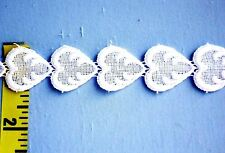"Venice Lace Trim Venice Heart Chain Lace 100% Cotton 1"" White 5 yds #W75"