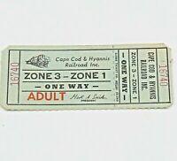 Vintage Cape Cod & Hyannis Railroad Inc. Ticket Massachusetts Unused