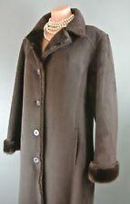❤️Vegan Imitation Faux Fur & Suede LONG BROWN Winter Dress Coat L FUDA *1007