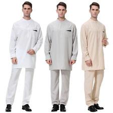 Männer Moslemische Robe Islamische Thobe Arabisch Kleid Dubai Langarm Stoffhose