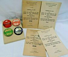 Vtg Pennsylvania Resident Fishing License Buttons + Summary Of Laws