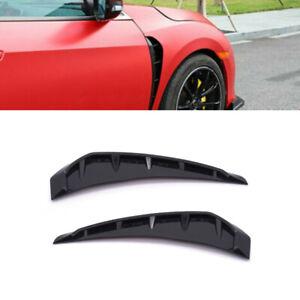 2×Universal Car Glossy Black Side Door Fender Vent Air Wing Shark Grilles Trims