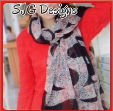 Scarf/shawl- ink drawing Style print ( Black ,brown, Pink )- new