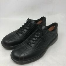 Ecco Mens Black Leather Oxford Casual Sneaker Shoes Lace Up Size 46