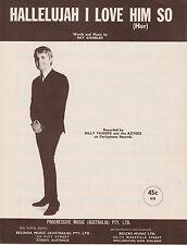 Billy Thorpe & The Aztecs-Hallelujah I Love Her So-1965-Sheet Music-Australia