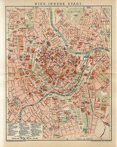 1897 AUSTRIA VIENNA INNER CITY PLAN Antique Map