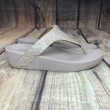 Fitflop Lottie Chevron Thong Sandals Women Size 9 Wedged Sandals R18-673