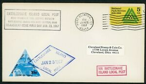 Rattlesnake Island Local Post 1967 FDC 25 cent Perf Stamps air mail