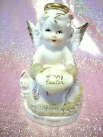 *RARE VTG Easter Japan April Birthday Angel Girl Holds Egg w/ Bunny Figurine