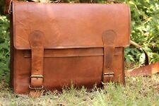 """17"""" Men's Vintage Brown Leather Handbag Messenger Shoulder Laptop Bag Briefcase"""