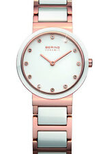 Bering Womens 10729-766 Ceramic White Dial Rose Gold Stainless Steel Band Watch