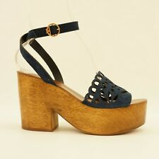 4604fdd8868 Tory Burch Women Shoe May 100MM Suede Ankle Strap Platform Sandals 9 Navy   358