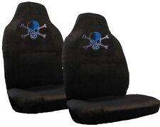 Blue Skull w/Crossbones Crystal Studded Rhinestone Seat Covers Pair