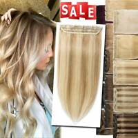 CLEARANCE 16-22 inch Clip In Real Human Hair Extensions One Piece Thick Ombre US