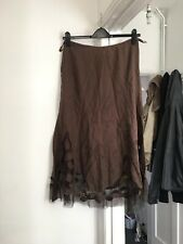 M&S Per Una Size Uk 10 Brown Linen Skirt With Flower And Net Detail.  (b4)